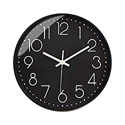 Preciser Modern Wall Clock 12 Inch Silent Non Ticking Digital Wall Clocks Excellent Accurate Sweep Movement Decorative Clocks for Living Room, Bedroom, Bathroom, Office - Black