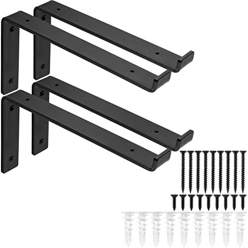 """1/4"""" Thick Heavy-Duty Shelf Brackets - Rustic Modern Farmhouse Iron Metal Wall Floating Brace Support with Lip for DIY Open Shelving - Includes Hardware - Multiple Sizes Available 4-PK (11.25"""")"""