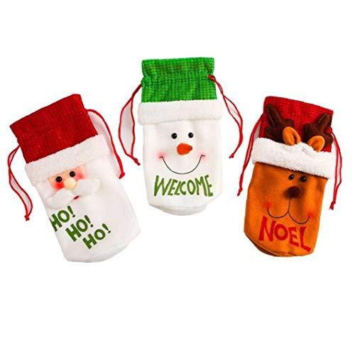 hong Wu Botella De Vino De Navidad Decoración Set Santa Claus Botella Ciervos Cubierta Ropa Aleatoria