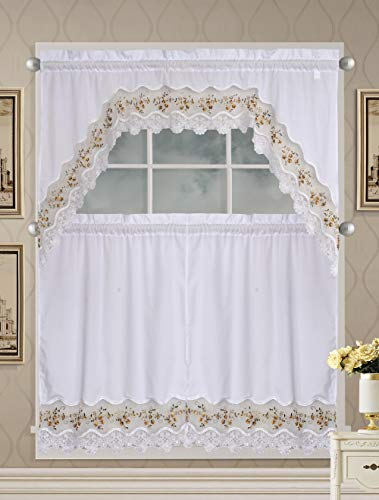 Luxury Home Collection 3 Piece White Embroidered Kitchen Window Curtain Set with 2 Tiers and 1 Valance #1092 (Gold/White)