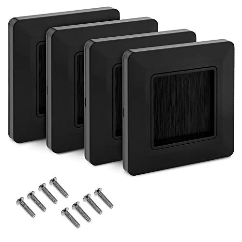 kwmobile Flush Brush Wall Plate - 4X European Single Gang Flush Wall Mounted Brush Faceplate to Cover Outlets, Sockets and Tidy Up Wires - Black