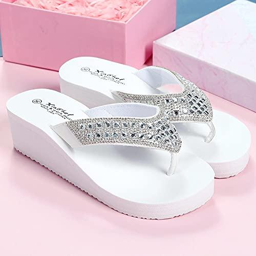 NISHIWOD Zapatillas Casa Chanclas Sandalias Zapatillas De Mujer Chanclas Zapatos Suaves Cuñas De Cristal Exteriores Nuevo Casual Playa Brillante 5 Cm De Altura Eva Sólido PU 8 Cristal Blanco