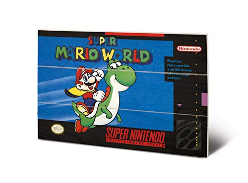 Nintendo MW12482P Impression sur Bois 29,5 x 20 cm (Super Mario World), Multicolore, 20 x 29, 5 x 1, 2 cm