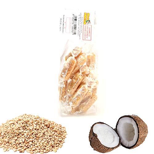 PRACONI 100 g Bonbons mit Honig und Sesam und Kokosnuss Crunchy Candy mit Sesame Seeds AD Kokosnuss