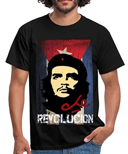 Che Guevara Revolución Kubanische Flagge Fahne Männer T-Shirt, M, Schwarz