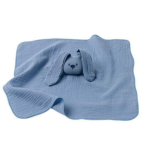 Nattou Schnuffeltuch Hase Lapidou aus Baumwoll-Gaze, Wegbegleiter ab der Geburt, 42 cm, Blau