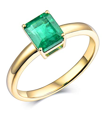 AtHomeShop Real Gold Collection, 18K Yellow Gold Rings, 4 Claw Solitaire Ring with Sparkling Asscher Emerald Marriage Proposal Ring for New Year Gift, Polished, Nickel Free Yellow gold