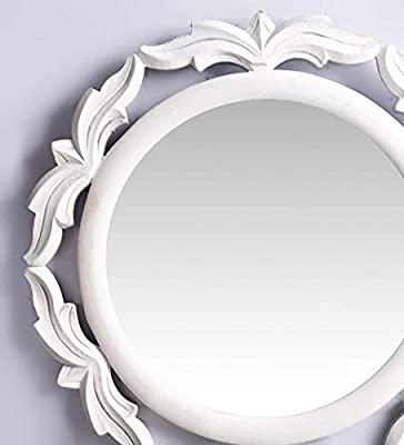 R.A.A.WOOD CARVING Round Shape Wall Decorative Mirror Frame White