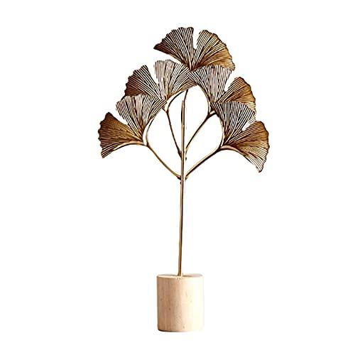 SM SunniMix Escultura de Hoja de Hierro, Estatua Artesanal de Arte para Sala de Estar Dormitorio de La Habitación Dormitorio de La Decoración de Escritorio, Regal - Ginkgo Leaf Wood, Individual
