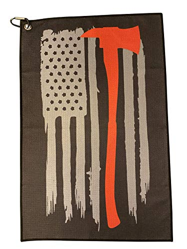 American Flag and Axe Golf Towel