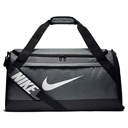 Nike Brasilia Training Duffel Bag, Versatile Bag with Padded Strap and Mesh Exterior Pocket, Medium, Flint Grey/Black/White
