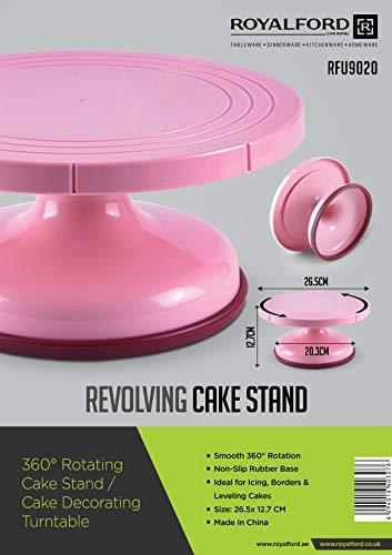 Royalford Soporte giratorio para tartas para glaseado y nivelación – giratorio 360°, respetuoso con el medio ambiente, plástico de alta calidad – ideal para glaseado, nivelación y bordes
