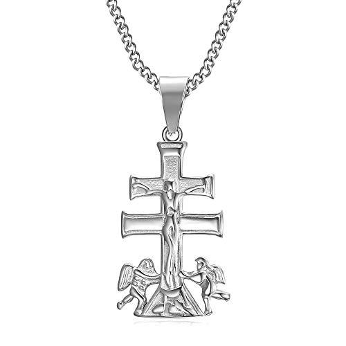 BOBIJOO Jewelry - Pendentif Collier Croix de Caravaca de la Cruz 32mm Acier Argenté 316L Chaîne