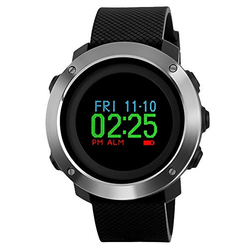 SKMEI Digital Watch, Waterproof Military Watch with Compass Stopwatch Pedometer LED Color Screen Wrist Watch for Men