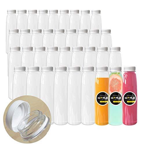 12 OZ Large Diameter Empty Plastic Juice Bottles 36 Pack Clear Disposable Bulk Plastic Bottles for Liquids with White Tamper Evident Lids
