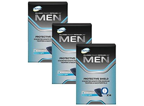 Tena Men Protective Shield Extra Light für leichte Blasenschwäche / Inkontinenz 3er Pack (3 x 14 Stück)