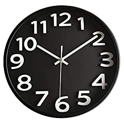 Lucor Large 3D Number Wall Clock, 12 inch Silent Non-ticking Quartz Decorative Round Wall Clock Modern Style for Living Room & Home & Office Battery Operated (Black)