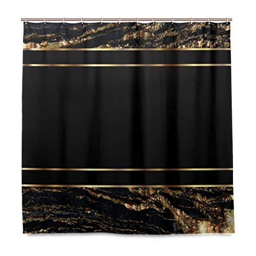 Duschvorhang Gold & Schwarz Marmor Polyester Stoff mit waschbarem Heavy Duty für Badezimmer mit 12 Haken 182,9 x 182,9 cm