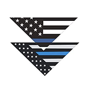 Native Pup Thin Blue Line Dog Bandana| Package of 2| Police Law Enforcement Support Handkerchief Bandanna