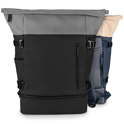 bloomint® Rolltop Rucksack mit Schuhfach| 28l | für Damen & Herren | wasserfester Rucksack aus veganem Leder | für Uni, Arbeit, Sport & Reisen | ideal für jeden Tag (schwarz, grau)
