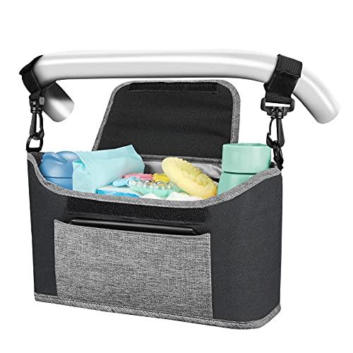Yoofoss Bolsa Organizadora de Cochecitos para Mamá, Bolsa Carrito Bebe, Universal cochecito de bebé para Todos Los cochecitos (gris negro)