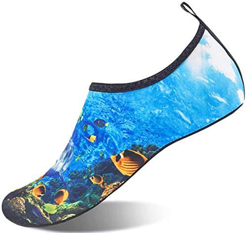 Sixspace Badeschuhe Wasserschuhe Strandschuhe Schnell Trocknend Schwimmschuhe Breathable Aquaschuhe Surfschuhe für Herren Damen Blau 41 EU