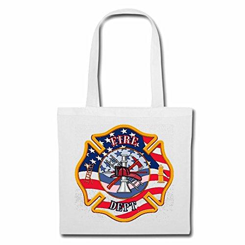 Tasche Umhängetasche FIRE Department Abzeichen Feuerwehr Abzeichen MIT Helm AXT UND HYDRAND Firefighter LÖSCHZUG FREIWILLIGE Feuerwehr FFW EINSATZLEITER BERUFSFEUERWEHR WERKSFEUERWEHR Einkaufstasch