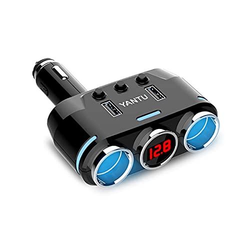 YYOMXXOM Yantu Dual USB Port 3 Way AUTOMO Auto COCE CIPTARIO Encendedor de Cigarrillos del Encendedor del Encendedor Adaptador de Enchufe DC 5V 1A + 2.1A para Todos los teléfonos iPad