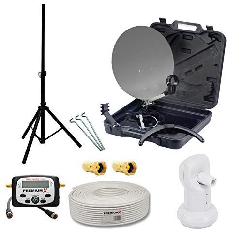 PremiumX Camping SAT-Antenne Single LNB Basic 10m Koaxial Kabel F-Stecker LCD Sat Finder Dreibein Stahl Stativ 120cm