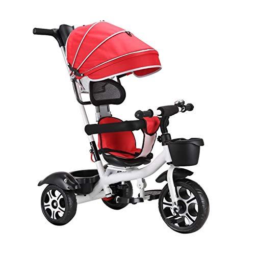 WENJIE Bambina 4 in 1 Triciclo ,Pieghevole Triciclo Bambini 2 Anni Leggero Bambini Triciclo Passeggino Grey Verde Rosso (Color : Red)