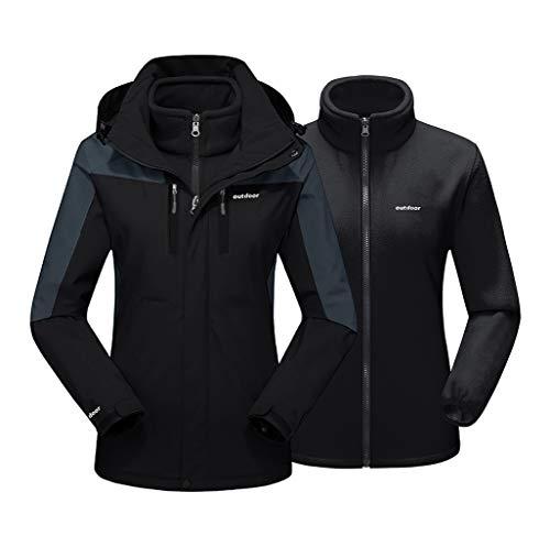 EKLENTSON Damen 3-in-1 Jacke Übergangsjacke Softshell Warme Winter Damenjacke für Winterwandern Abnehmbare Kapuze Schwarz, 2XL