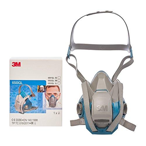 3M Atemschutz-Halbmaske 6502QL – Atemmaske mit Cool-Flow Ausatemventil & Quick-Release Mechanismus – Mehrwegmaske mit großer Filterauswahl für unterschiedlichste Einsatzzwecke - 4