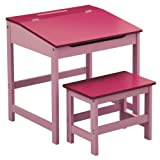 Premier Housewares Pink Childrens Table And Chair Set Hinge Lid Childrens Desk And Chair Set MDF Kids Desk And Chair Set Childs Desk