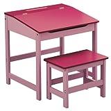 Premier Housewares - Escritorio y Taburete Infantil (57 x 55 x 48 cm), Color Rosa