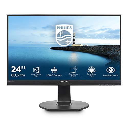 Philips 241B7QUPBEB Monitor LED 24 , Full HD 1920 x 1080, IPS, Dock USB-C, Regolabile in Altezza, Girevole, Pivot, Hub USB, RJ45, Powersensor, Low Blue Mode, Flicker Free, Vesa, Nero