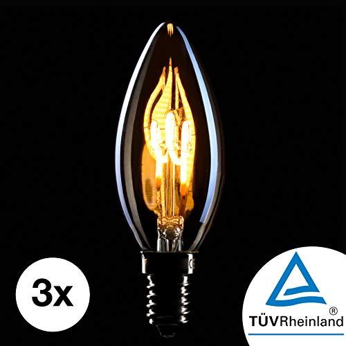 CROWN LED 3 x Edison Kerzen Glühbirne E14 Fassung, Dimmbar, 2W, Warmweiß, 230V, EL09, Antike Filament Beleuchtung im Retro Vintage Look