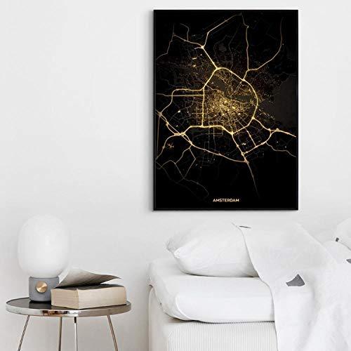 Terilizi Amsterdam City Light Maps wereldstadstad kaart poster canvas schilderij afdrukken Scandinavische stijl muurkunst wooncultuur -60 * 90 cm - niet ingelijst