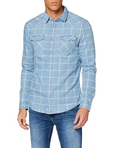 Tommy Jeans Herren TJM Denim Check Western Shirt Hemd, Helles Indigoblau, S