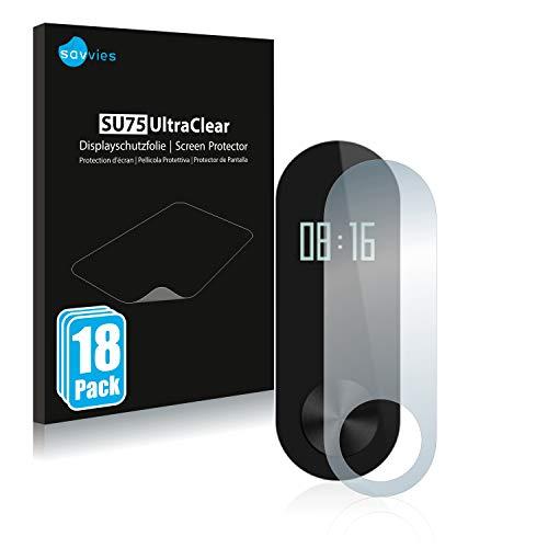 savvies 18-Pezzi Pellicola Protettiva Compatibile con Xiaomi Mi Band 2 Protezione Schermo Trasparente