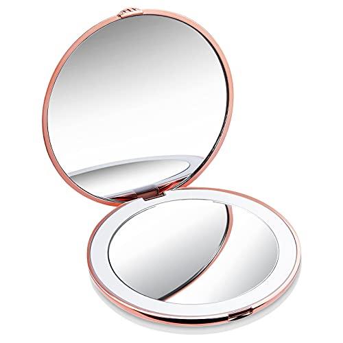 Miroir de poche LED avec grossissement 10 x / 1 x, Miroir de maquillage portable pour Voyager/Travailler/Entretien