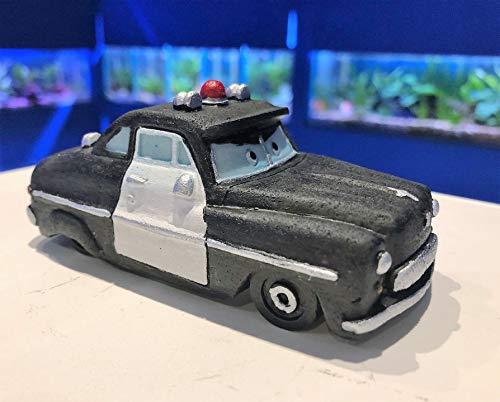 Mezzaluna Gifts Small Vehicle Aquarium Ornament Car | Bus | Campervan | Train (Black Police Car H 4 cm x L 11 cm x W 5.5 cm)