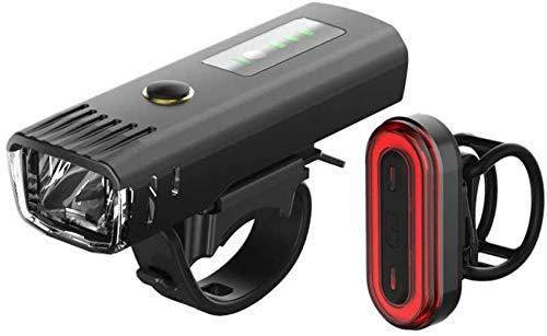 Juego de luces LED de 250 lúmenes con indicador de potencia, impermeable, IPX4, lámpara de pie, foco para bicicleta, bicicleta de montaña, camping, senderismo con 4 modos, ajustable, recargable por US