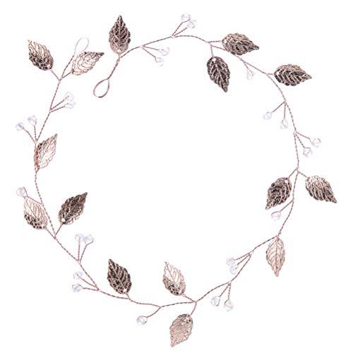 Lurrose Bridal Stirnband Rose Gold verlässt Haarband Headpiece Headwear Haarschmuck für Hochzeit (FD609)