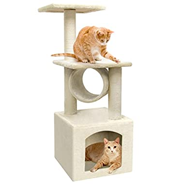 BEAU JARDIN 36 Inch Cat Tree Condo Furniture Scratcher with Scratching Posts Beige Cat Tower Kitten Activity Trees Pet Play House Kitty Condos for Cats Tabby Climber Towers Play Toy