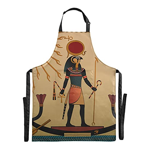 Antiguo Étnico Tribal Cultura Egipto Totem Arte Africano Anubis Sol Dios Chef Delantales de mujer para cocinar Delantal de barbacoa ajustable 88x68cm Delantal de cocina de gota de agua para mujeres