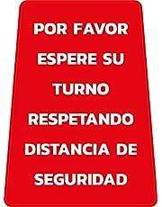 """Señal suelo cartel plegable""""ESPERE SU TURNO GUARDANDO DISTANCIA DE SEGURIDAD"""" doble cara, 61 X 30 cm. Color del mensaje a elegir (ROJO)"""