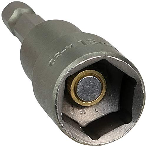 AERZETIX - Llave de vaso/portapuntas 1/4\'\' 13mm - Punta Magnética/Imántado 6 lados - para tornillo autoperforante de cabeza hexagonal - Adaptador/monobloque/herramientas de atornillado - CR-V - C45862