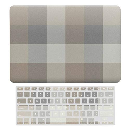For MacBook Air 13 Case A1466、A1369, Plastic Hard Shell Case & Keyboard Cover Compatible with MacBook Air 13, Tan Gray Ivory Neutral Rustic Plaid Laptop Protective Shell Set
