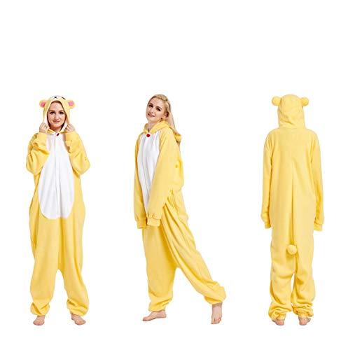Tier Onesies Pyjama Erwachsene Cartoon Unisex Jumpsuit Weich Warm Tierpyjamas mit Kapuze Niedliche Kostüm Onesie Hausanzug Baumwolle Nachtwäsche für Cosplay Home Fasching Beige Rilakkuma XL