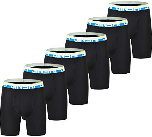 JINSHI Herren Bambus Boxershorts Langes Bein Bequeme Unterwäsche Atmungsaktive Boxershorts 3er Pack 6er Pack - Schwarz - XXX-Large